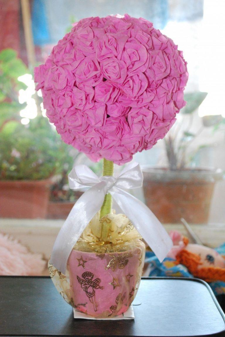 Топиарий своими руками пошагово ? как сделать дерево счастья, искусственные цветы из бумаги, лент, фото