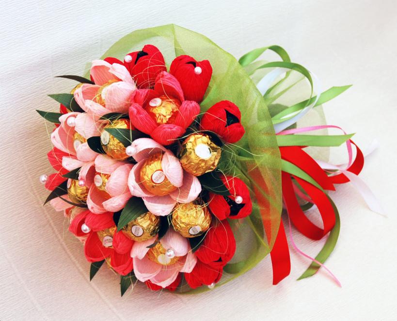 Букет из конфет своими руками, пошаговые фото для начинающих, букет из цветов, фруктов и конфет, мастер-класс