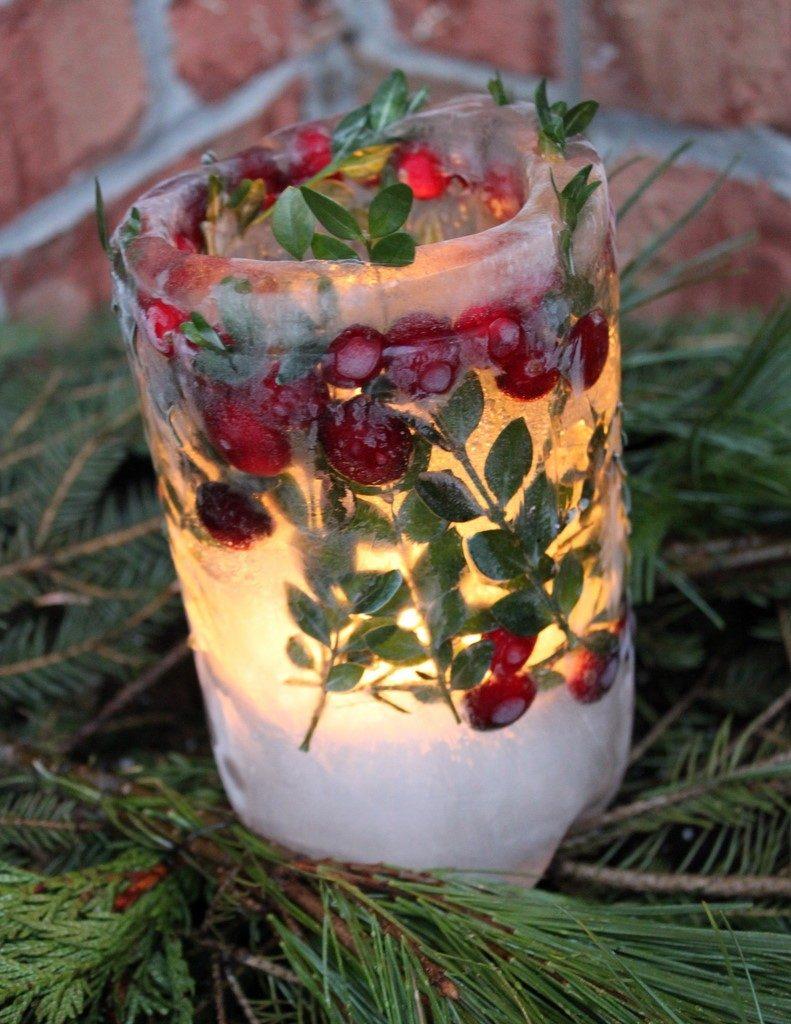 Поделка изделие рождество ледяной подсвечник материал природный