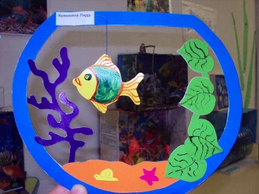 Объемная аппликация «рыбки в аквариуме. аквариум – поделка из бумаги