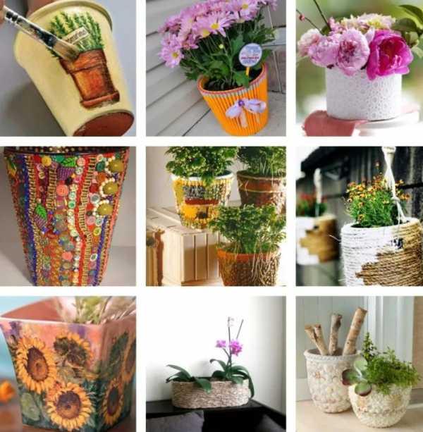 Декорирование цветочных горшков своими руками: шпагатом, ракушками, яичной скорлупой