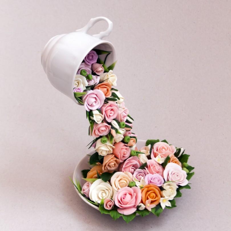 61 парящая чашка своими руками из цветов, кофе, фруктов, макарон, бусин, денег, а ещё морская, пасхальная и новогодняя! | крестик