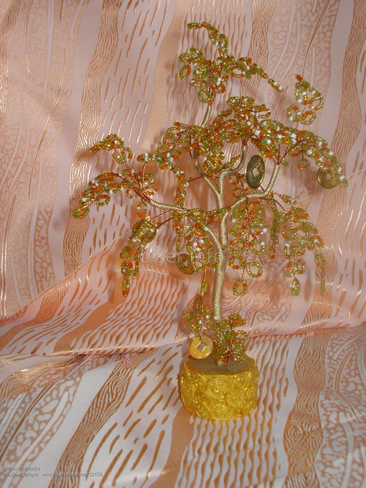 Мастер-класс. дерево из бисера. безмятежность у озера