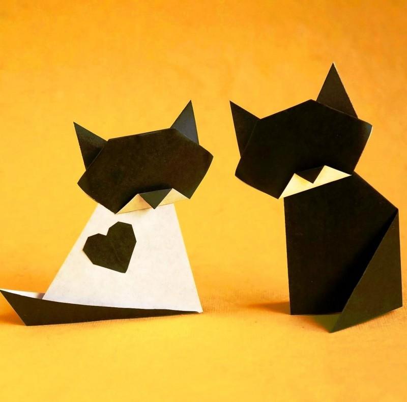 Как сделать кошку из бумаги своими руками: шаблоны для начинающих