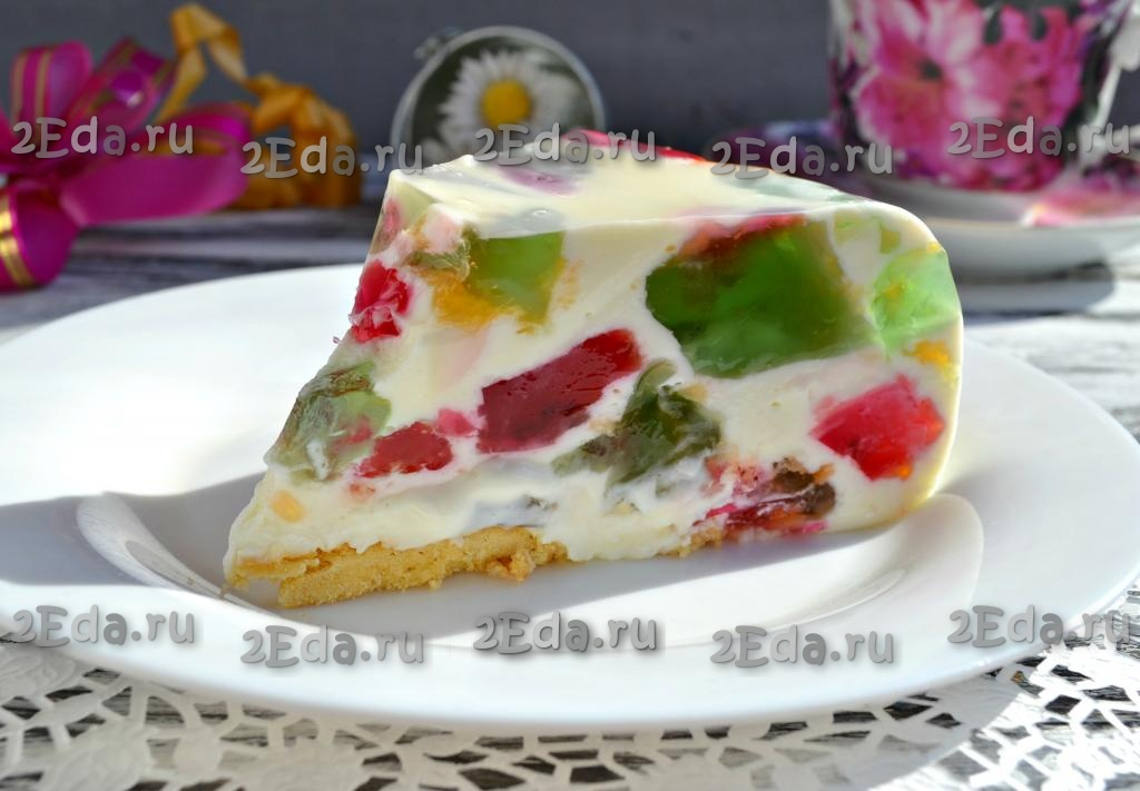 Желейный торт «битое стекло»: рецепт с фото