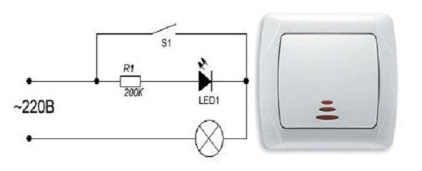 Выключатель с подсветкой – схемы на светодиоде и неоновой лампочке