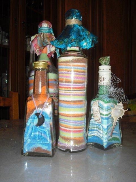 Декор предметов мастер-класс декорирование разноцветной солью бутылки стеклянные гуашь соль