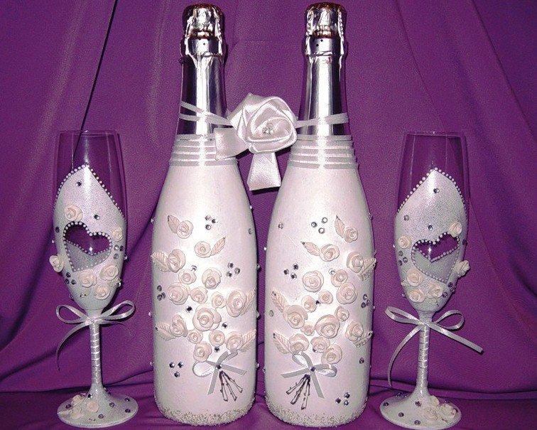 Свадебное украшение шампанского своими руками. жених и невеста. мастер-класс с пошаговыми фото