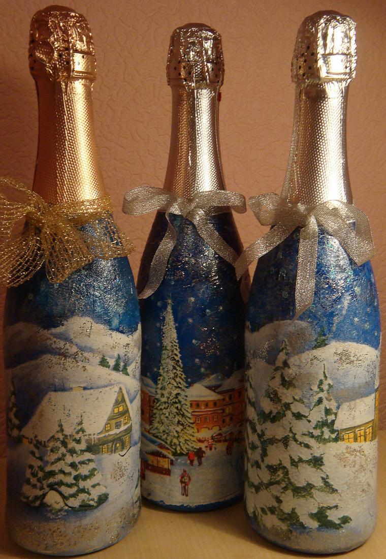 10 идей, как сделать декупаж бутылки своими руками