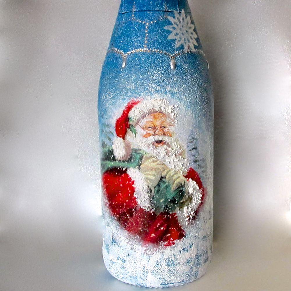 Декупаж бутылки шампанского на новый год - мастер-класс (57 фото)