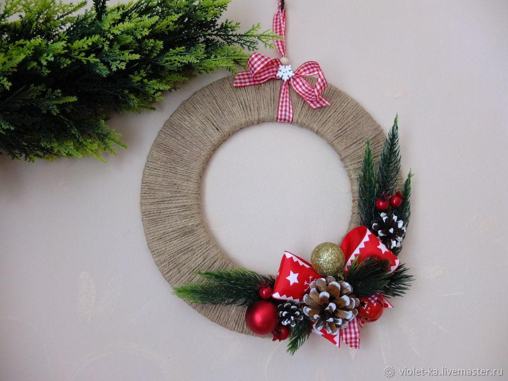 Рождественский венок на дверь: пошаговый мастер-класс с фото и видео