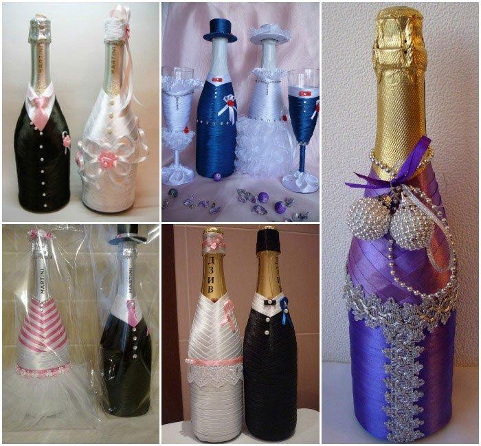 Шампанское жених и невеста: мастер-класс по оформлению свадебных бутылок