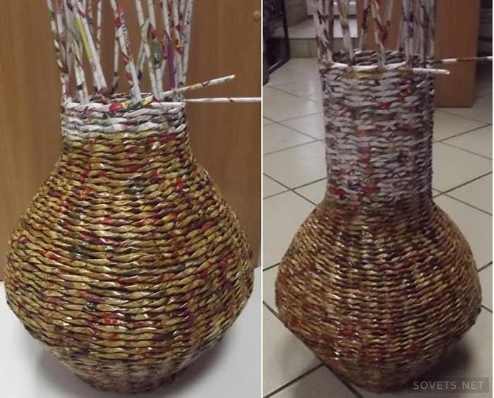 Большая спиральная ваза из бумажной лозы — своими руками