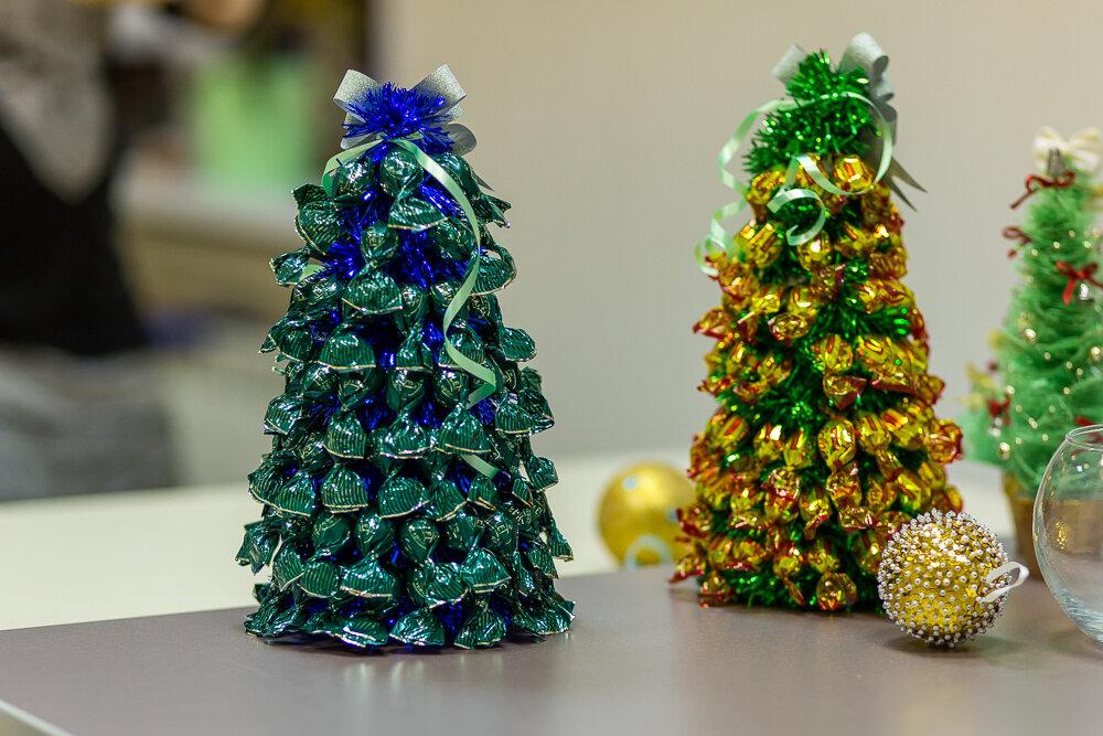 Новогодние подарки – своими руками: елки и букеты из конфет