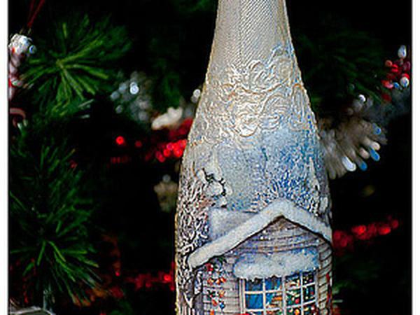 Новогодняя атрибутика в действии: декупаж бутылки шампанского своими руками (50 фото)