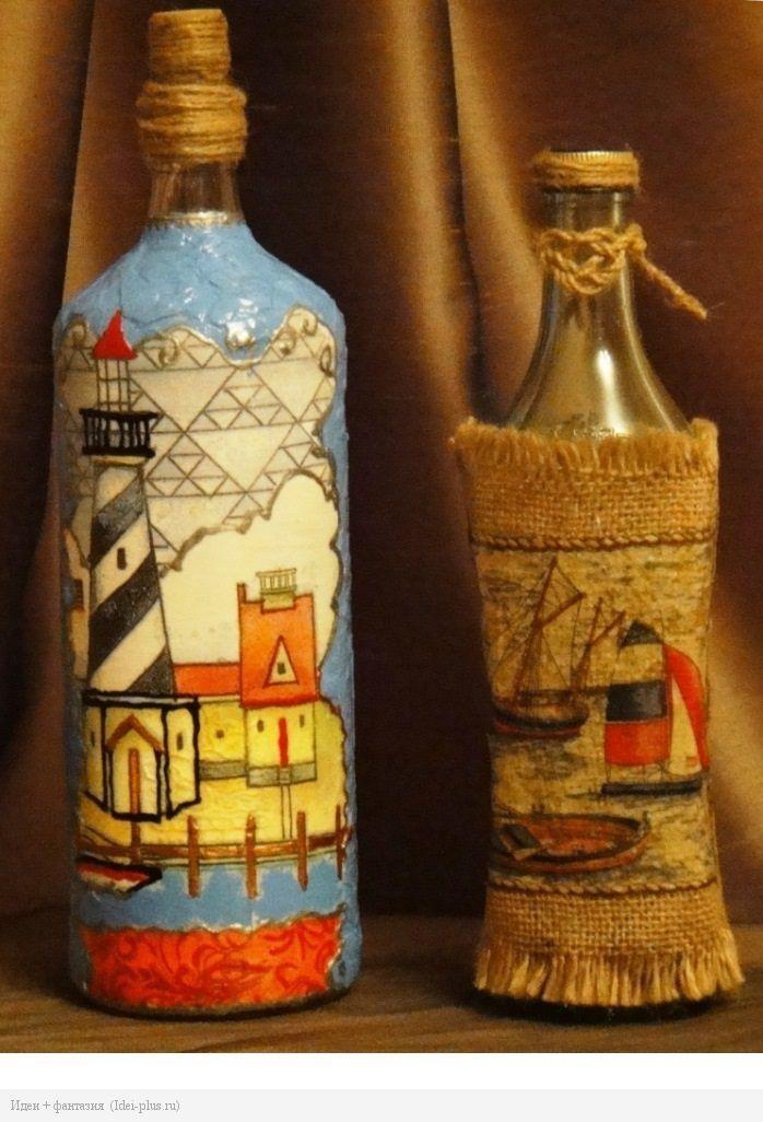 Декоративная бутылка «воспоминания о море. как украсить бутылку в морском стиле – декор своими руками обратный декупаж бутылки в морском стиле