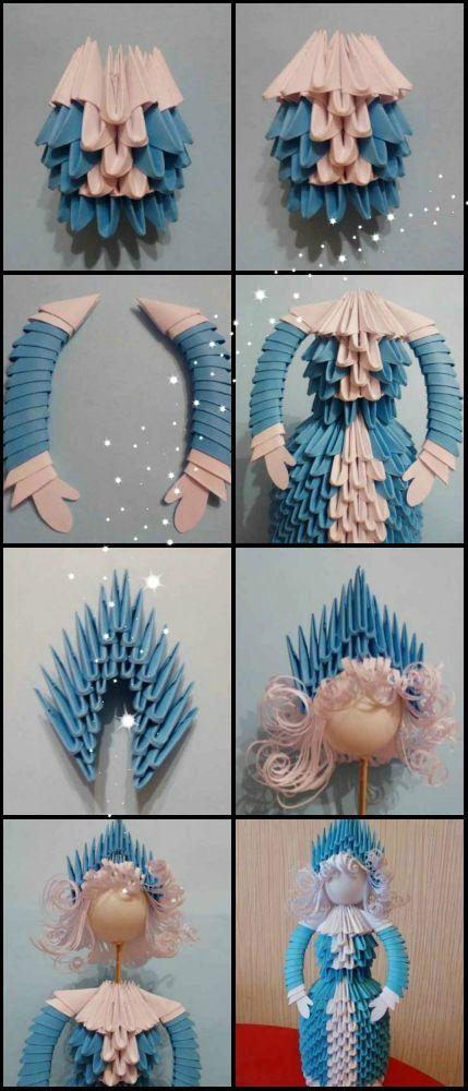 Очень красивая снегурочка оригами из бумаги. мастер-класс пошагово с фото