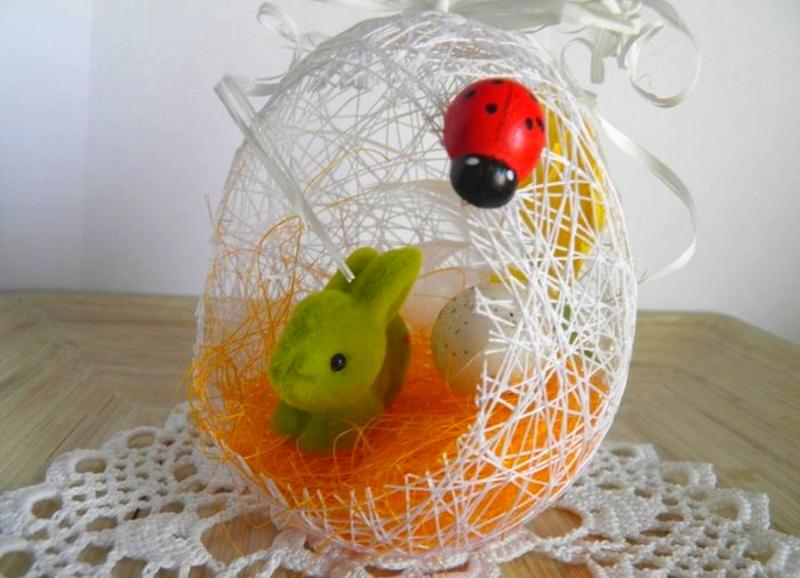 Пасхальное яйцо из ниток в детсад | страна мастеров