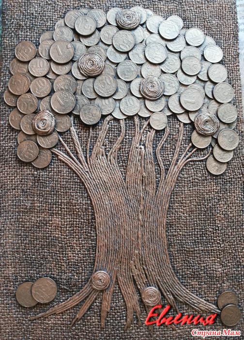 Денежное дерево из монет своими руками