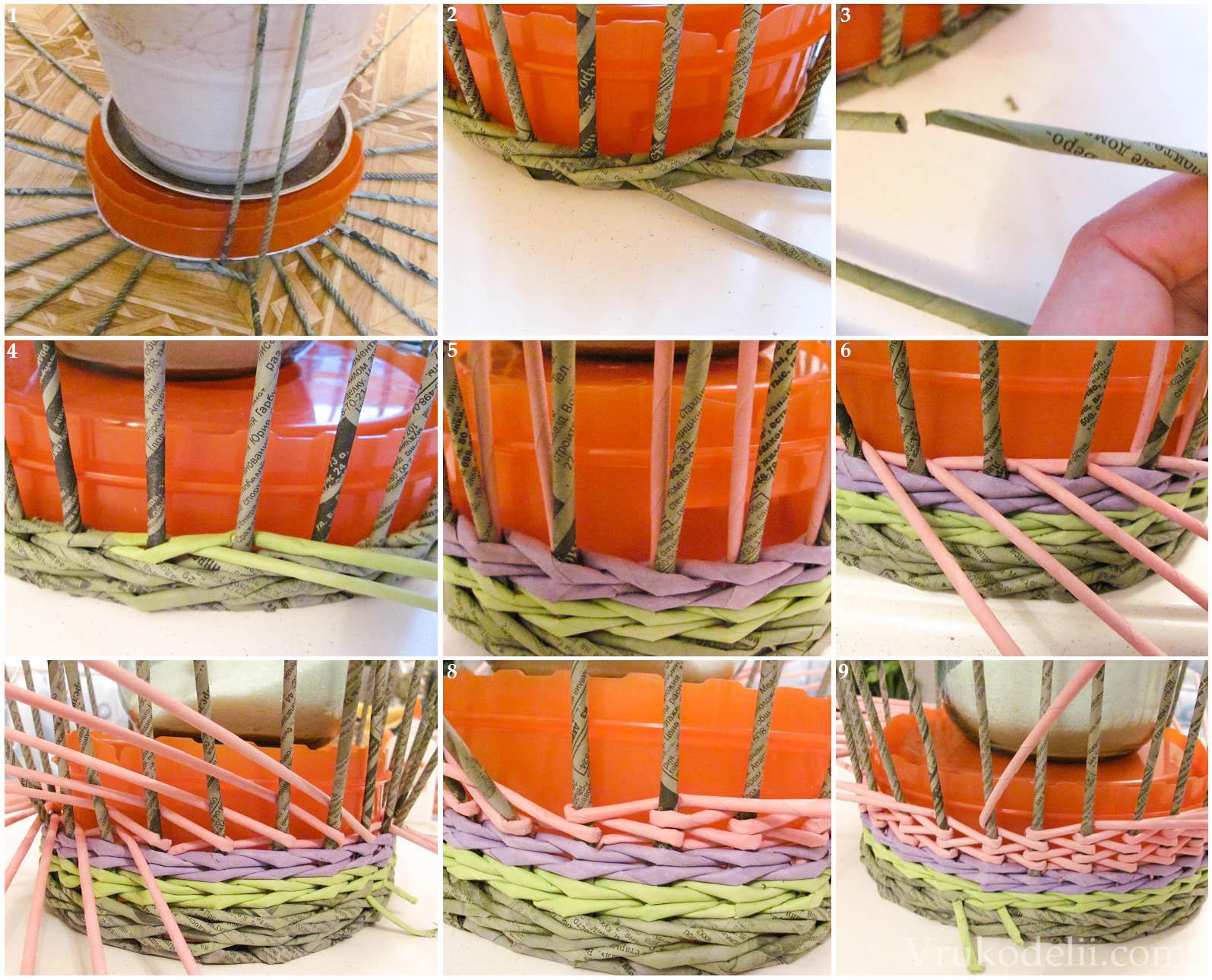 Квадратная корзина для белья из газетных трубочек своими руками