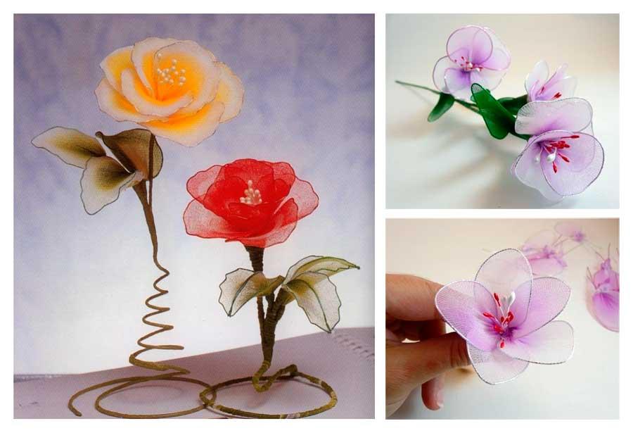 Цветы из капрона и проволоки (34 фото): как сделать орхидеи и другие искусственные цветы своими руками? мастер-класс для начинающих