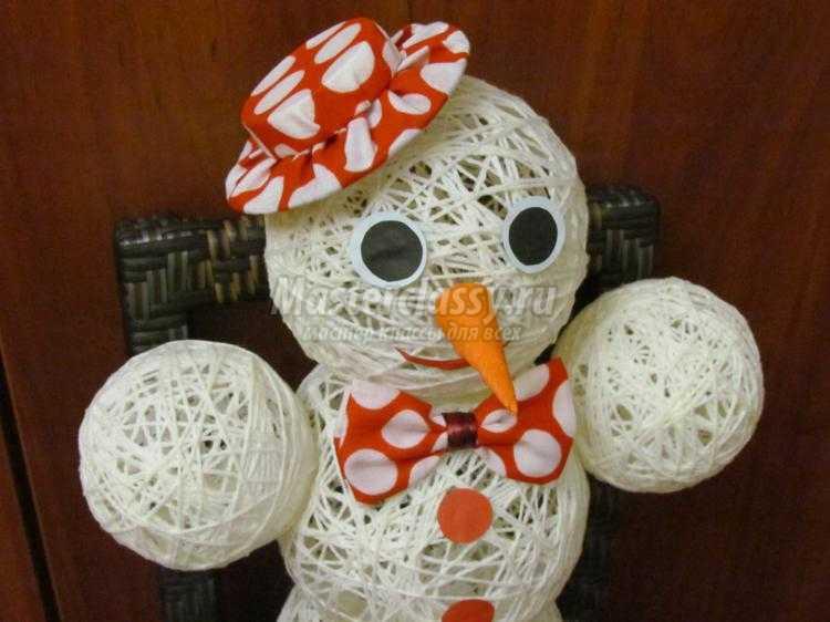 Снеговик из ниток и клея для новогоднего конкурса. снеговик из ниток своими руками — пошаговый фото-мастер-класс