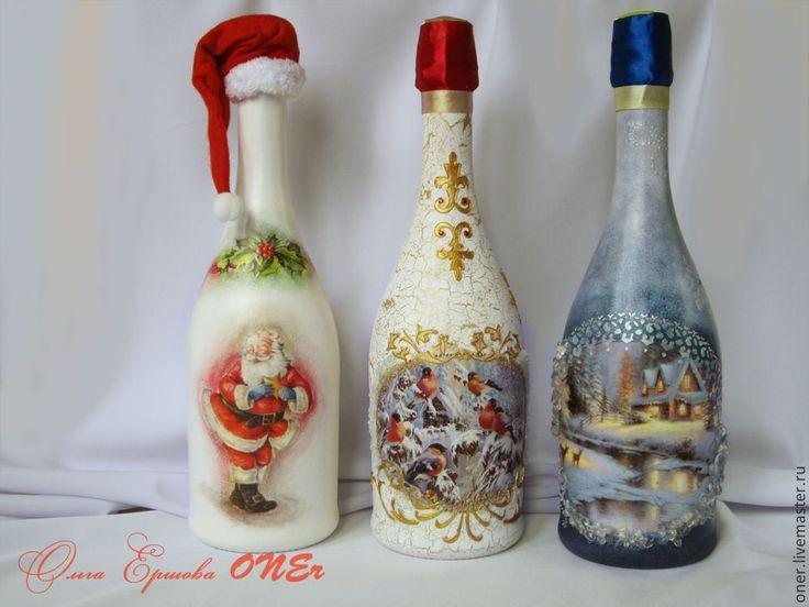Декупаж бутылки шампанского своими руками - подробный мастер-класс