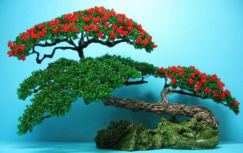 Поделка дерево из бисера своими руками - инструкция с фото и видео, как легко плести деревья из бисера