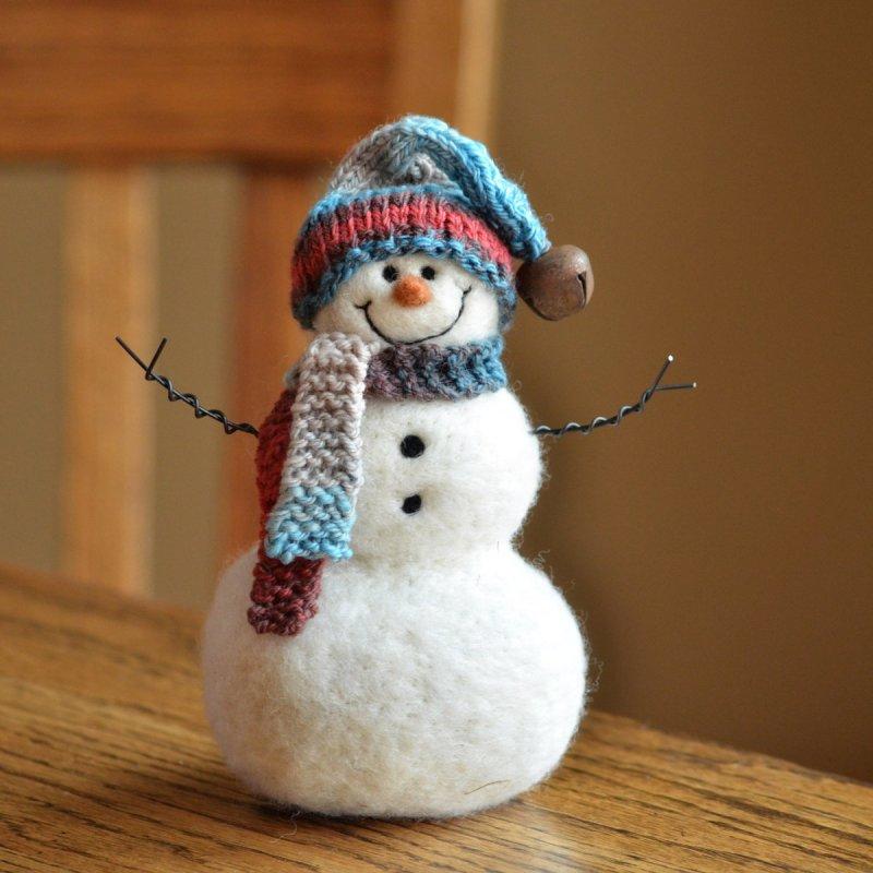 Валяние игрушек из шерсти. снеговик с елочкой. мастер-класс с пошаговыми фото
