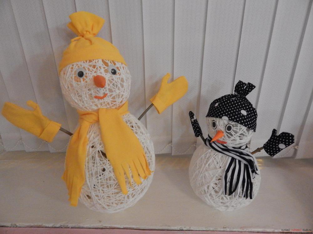 Мк изготовление снеговика из ниток. | страна мастеров