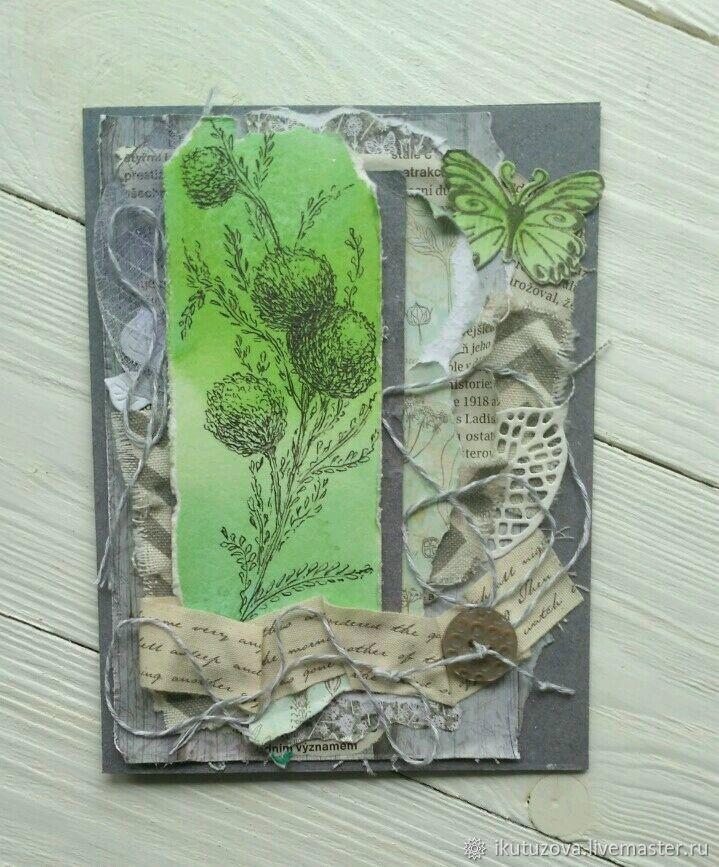 Открытка день рождения аппликация открытка гербарий бумага газетная картон клей ленты листья соломка