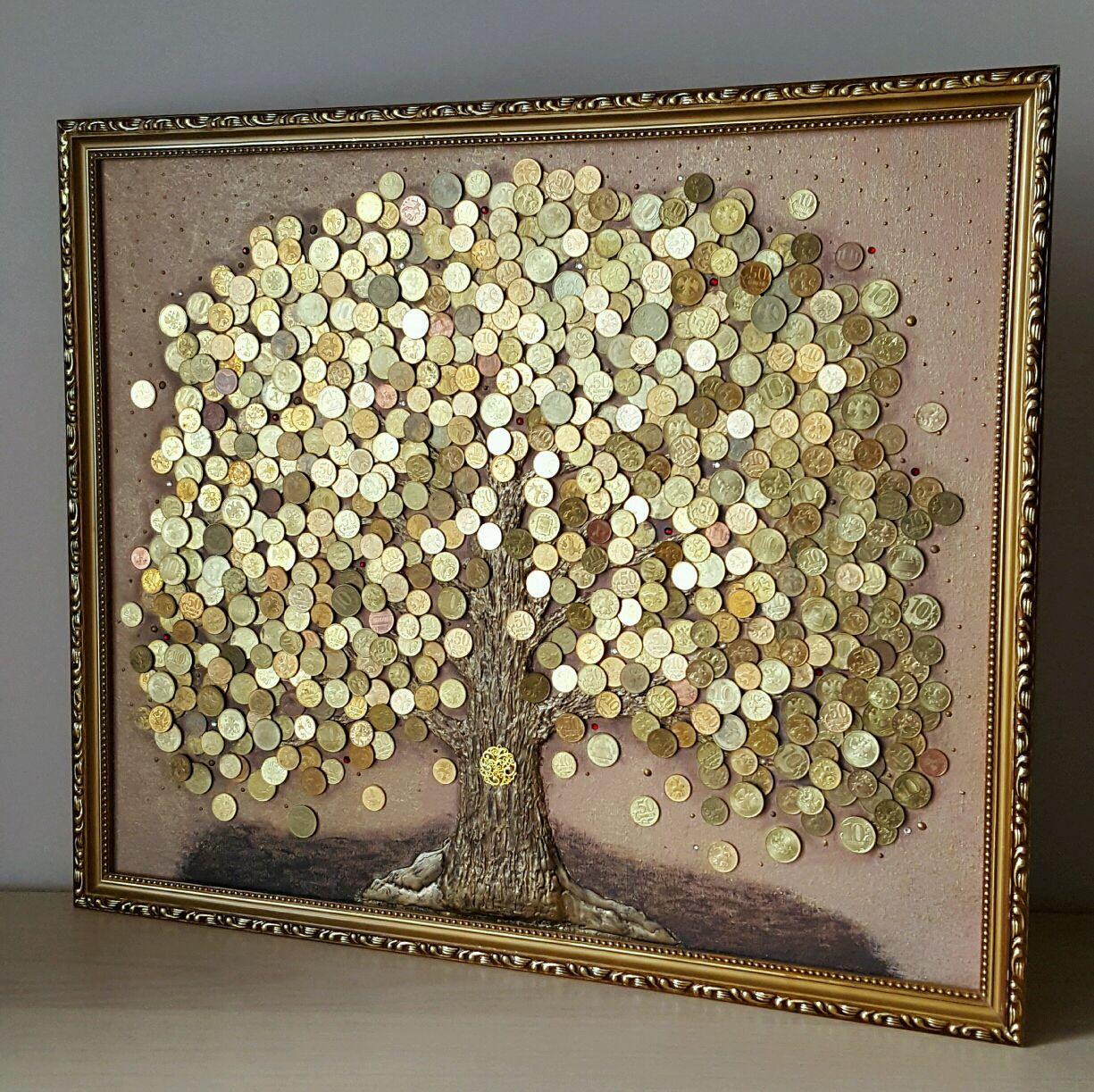 Картина из монет «Денежное дерево»
