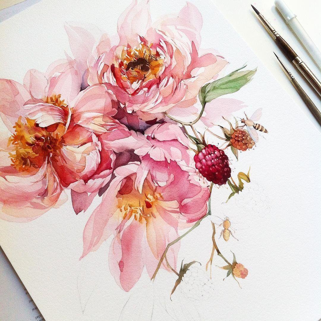 Рисунки цветов акварелью: очень вдохновляющая подборка!