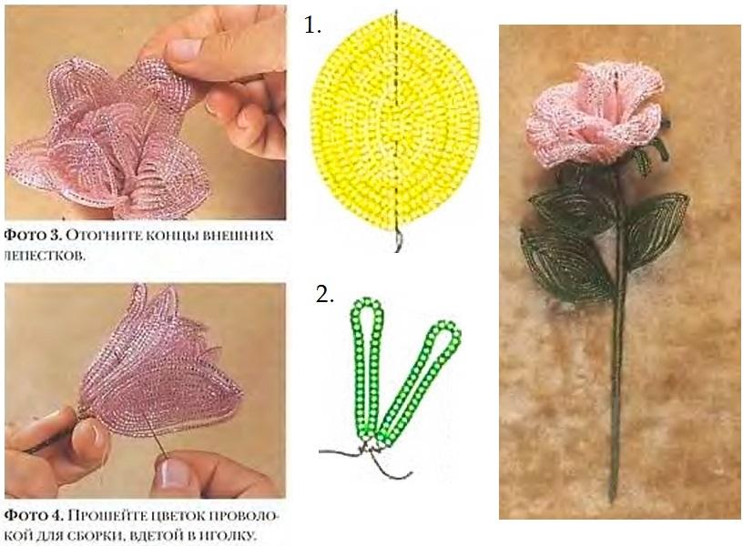 Бокаловидная роза из бисера — пошаговый мастер-класс с фото