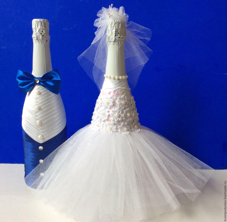 Декор свадебных бутылок шампанского, своими руками