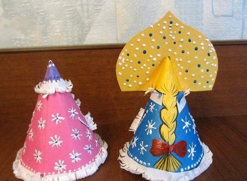 Снегурочка своими руками из бумаги и картона (шаблоны), колготок, ткани и фетра (с выкройками), мастер-класс по снегурочке в садик и школу
