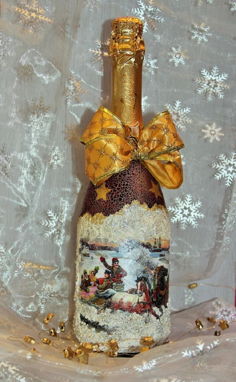Свадебный декупаж бутылки шампанского: 5 идей для воплощения