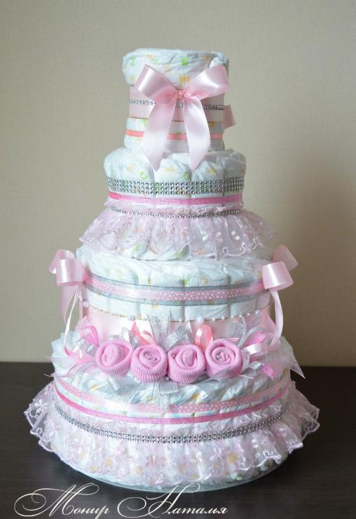 Свит-дизайн упаковка подарка день рождения моделирование конструирование торт из памперсов со сладким дополнением бумага гофрированная ленты