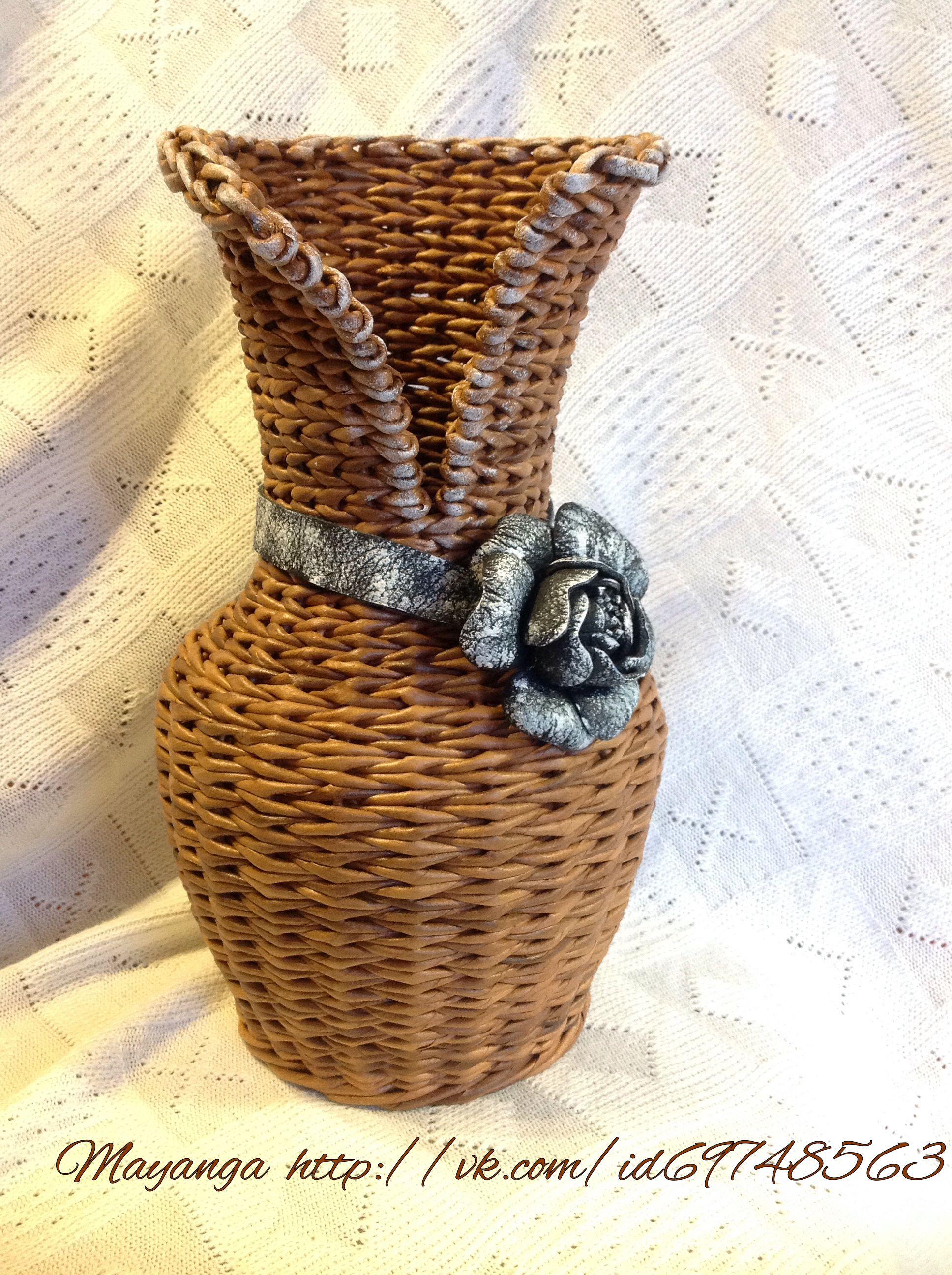 Плетение вазы из газетных трубочек для начинающих с видео