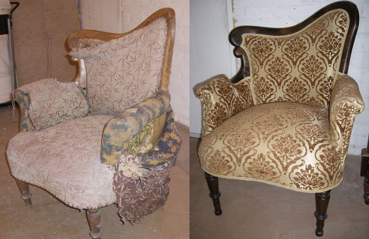 Реставрация старого кресла с деревянными подлокотниками в москве