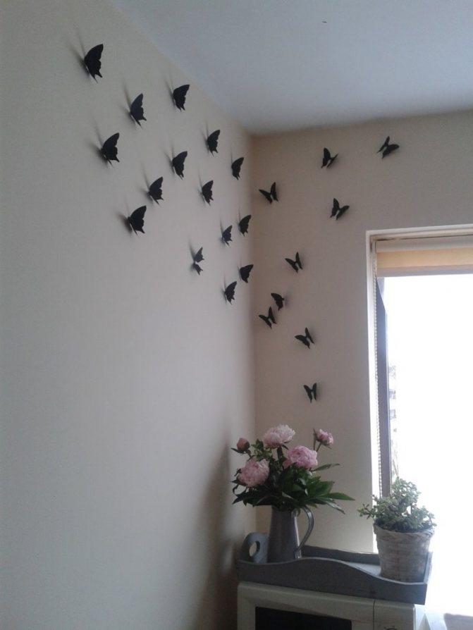 Как красиво наклеить бабочек на стену: композиции и оформление  - 36 фото