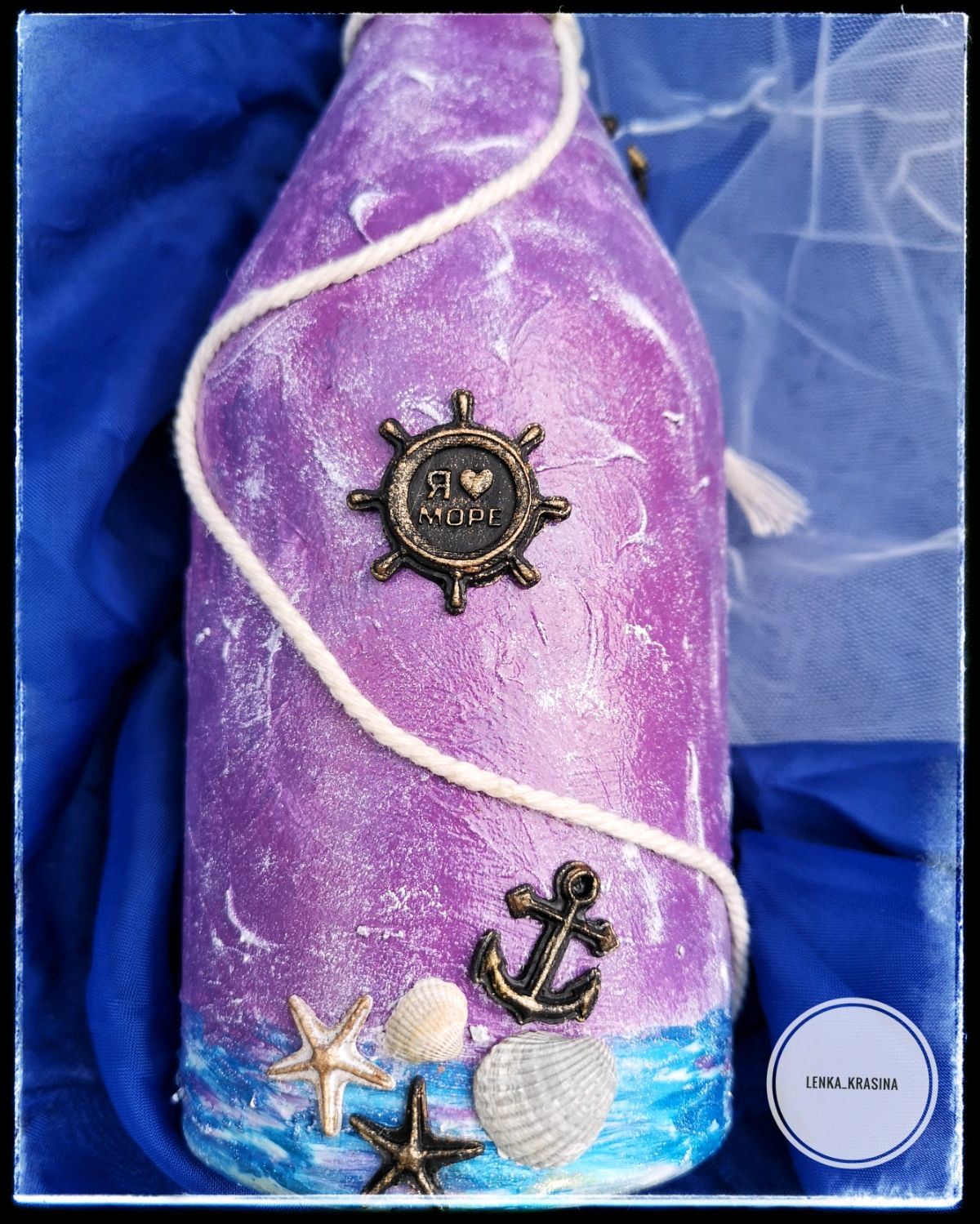 Декорирование бутылки в морском стиле. декоративная бутылка «воспоминания о море