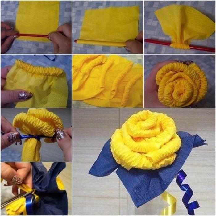 Цветы из салфеток своими руками (80 фото)