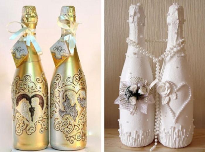 Украшение свадебных бутылок шампанского своими руками +50 фото