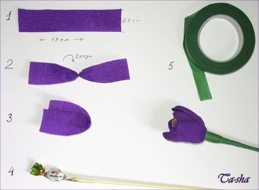 Букет из конфет тюльпаны своими руками, мастер-класс с фото