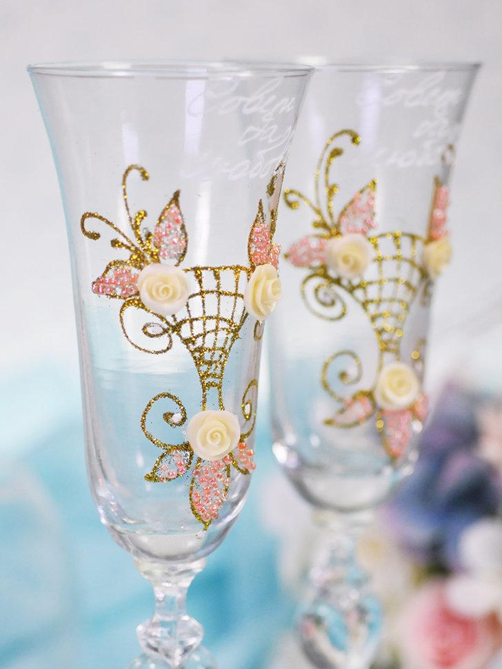 Украшаем свадебные бокалы своими руками: идеи для оформления с фото и видео