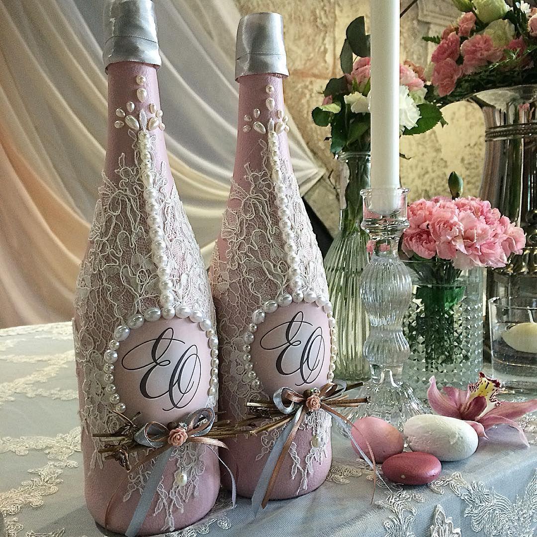 Свадебные бутылки своими руками ? красивое оформление шампанского на свадьбу