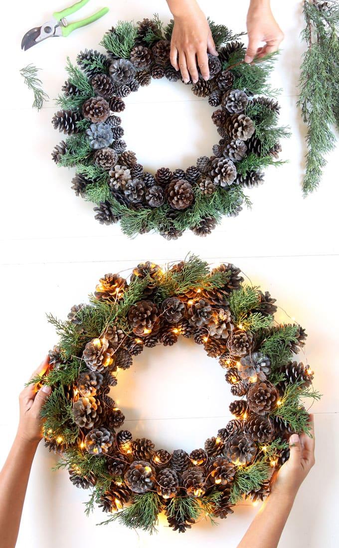 Как сделать новогодний венок своими руками - инструкция по созданию, советы по декору, фото примеры