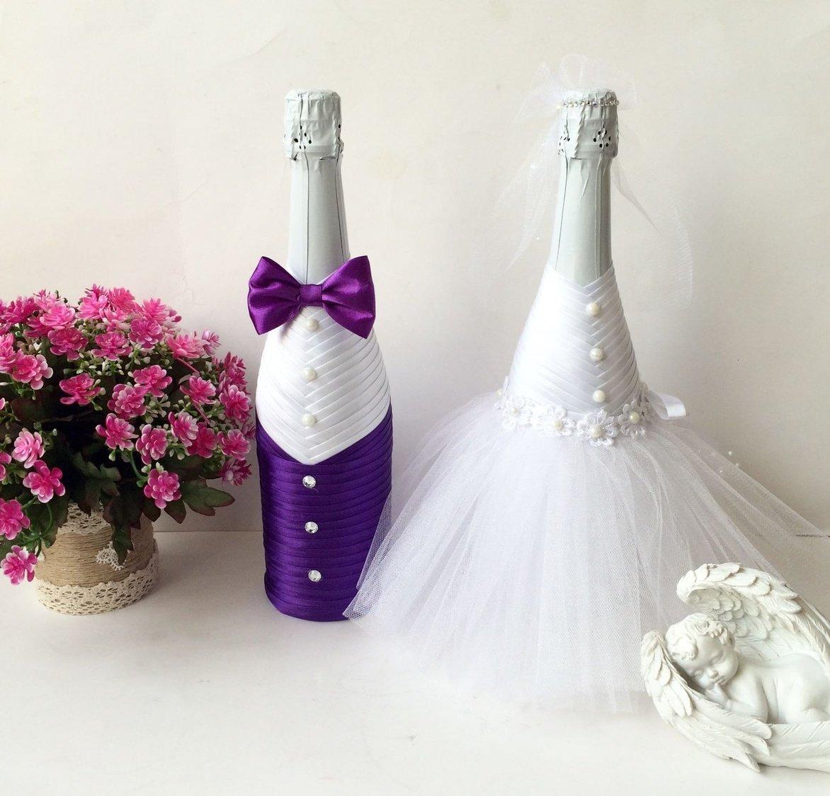 Украшаем свадебное шампанское своими руками. шампанское жених и невеста: мастер-класс по оформлению свадебных бутылок
