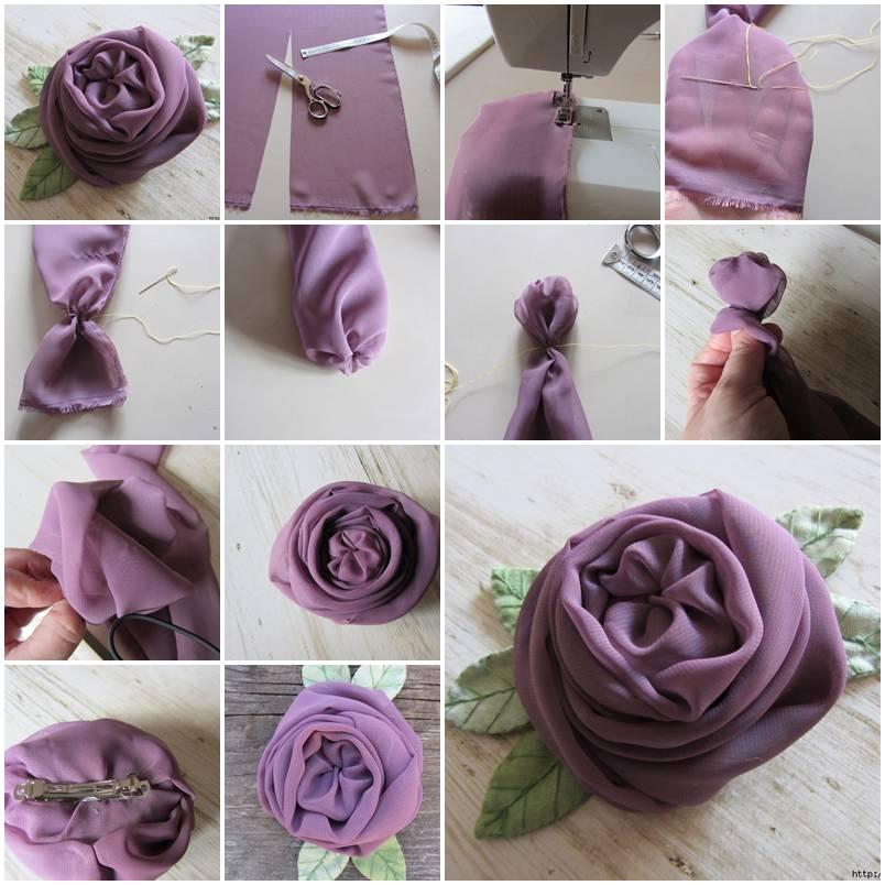 Как сделать розу из ткани своими руками для декора одежды